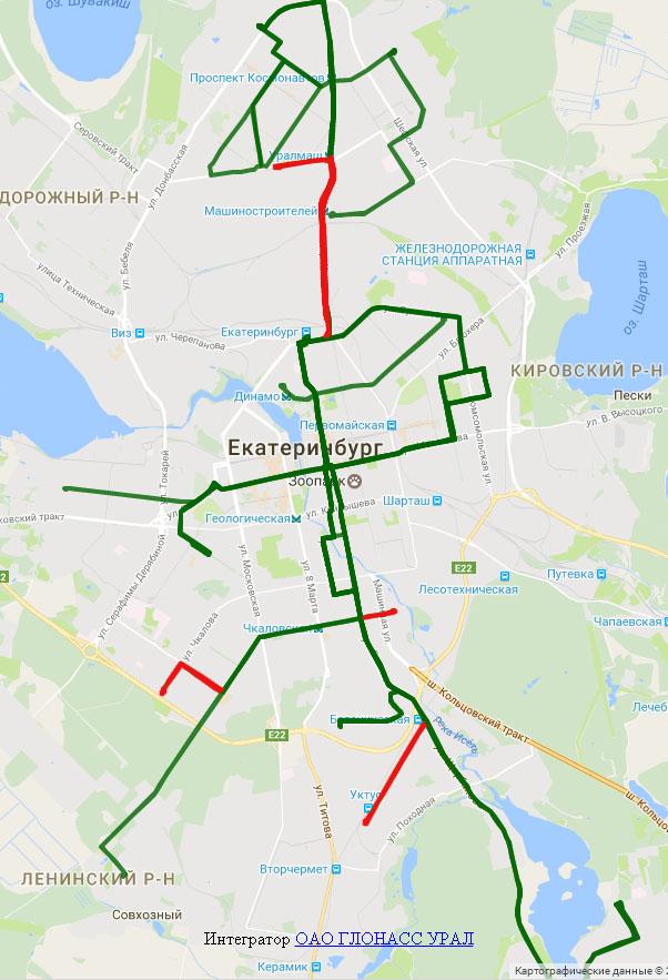 Схема троллейбусных маршрутов Екатеринбурга с ликвидируемыми участками